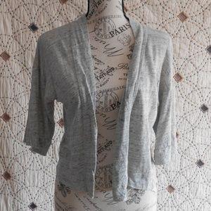 EUC Loft Linen Petite Gray Open Front Cardigan XXS